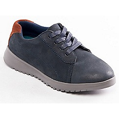 Padders - Navy leather 'Re Run' wide fit shoes