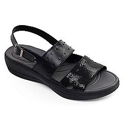 Padders - Black leather 'Cameo' mid heel wide fit slingbacks