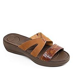 Padders - Tan leather 'Charlie' mid heel wide fit mules