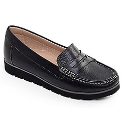 Padders - Black leather 'Nola' wide fit moccasins