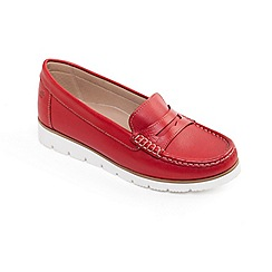 Padders - Red leather 'Nola' wide fit moccasins