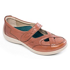 Padders - Tan leather 'Cello' wide fit shoes