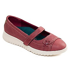 Padders - Wine leather 'Request' mid heel wide fit Mary Janes
