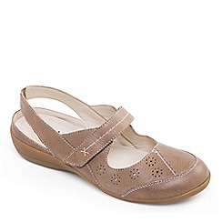 Padders - Camel leather 'Donna 2' wide fit slingbacks