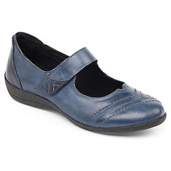 Padders - Blue leather 'Dwell 2' wide fit Mary Jane shoes