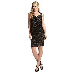 Ariella London - Black nude elsa lace shift dress