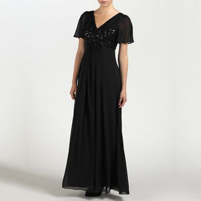 Ariella London Black Ava Embellished chiffon long dress - . -