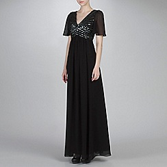 Ariella London - Black/Silver Ava Embellished Chiffon Long Dress