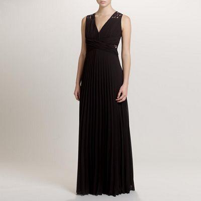 Ariella London Black Lucy Pleated Long Dress - . -