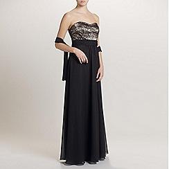 Ariella London - Black Daisy Chiffon/Lace Long Dress