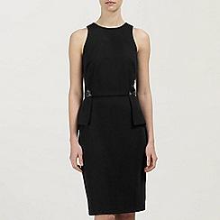 Ariella London - Black Poppy Ponte and Lace Peplum Short Dress