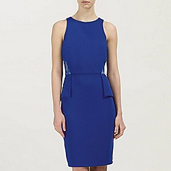 Ariella London - Cobalt Blue Poppy Ponte and Lace Peplum Short Dress