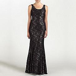 Ariella London - Black/Champagne Georgia Lace Long Dress