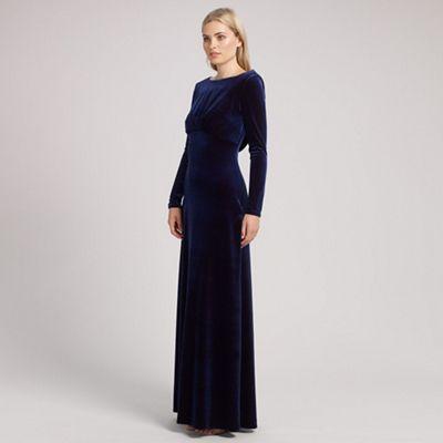 Ariella London Navy rafaella long sleeve velvet dress - . -
