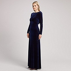 Ariella London - Navy rafaella long sleeve velvet dress