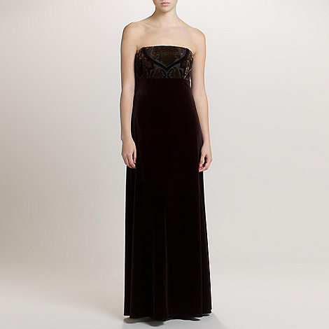 Ariella London - Black/Gold Lila Strapless Velvet Long Dress