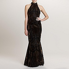 Ariella London - Gold/Bronze Hazel Velvet Devoree Long Dress