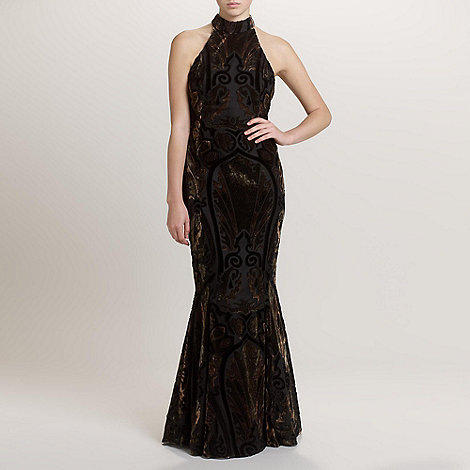 Ariella London - Gold/Bronze Hazel Velvet Devoree Long Dress