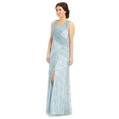 Ariella London Silver blue juliet sequin long dress - . -