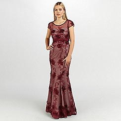 Ariella London - Claret nude clair embellished lace long dress