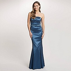 Ariella London - Blue Denise Stretch Taffeta Long Strapless Dress