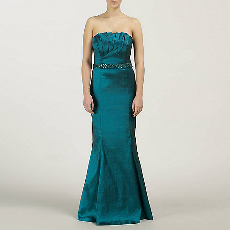 Ariella London - Teal Denise Stretch Taffeta Long Strapless Dress