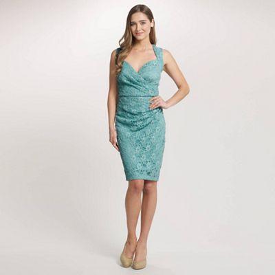 Ariella London Aqua Evie Lace Shift Short Dress - . -