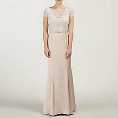 Ariella London - Champagne Charlotte Satin Back Crepe Lace Long Dress