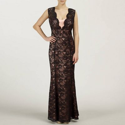 Black/Nude Tania Long Lace Dress