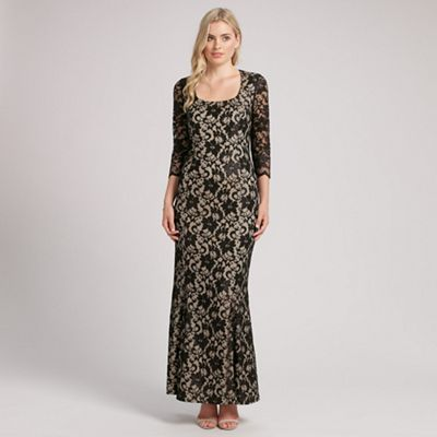 Ariella London Black natasha lace long sleeve long dress - . -