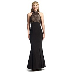 Ariella London - Black gold imelda halterneck foiled lace dress