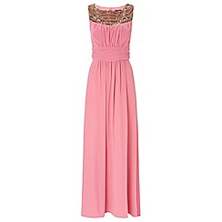 Ariella London - Blush beau chiffon long dress with neck trim