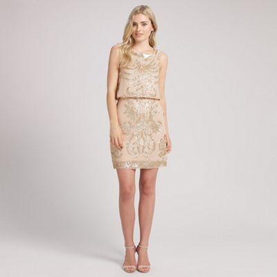 Ariella London Beige tara sequin short dress - . -