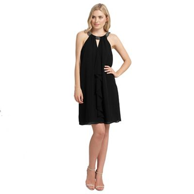 Ariella London Black kiara ruffle short dress - . -