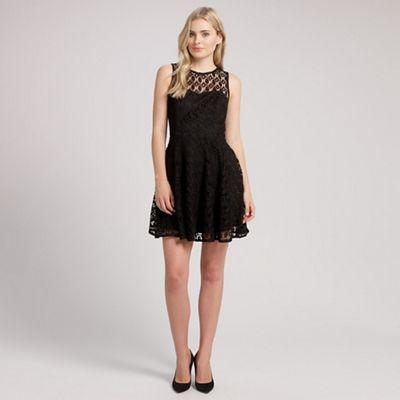 Ariella London Black libby crochet lace short dress - . -