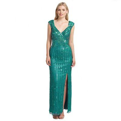 Ariella London Teal samantha sequin long dress - . -