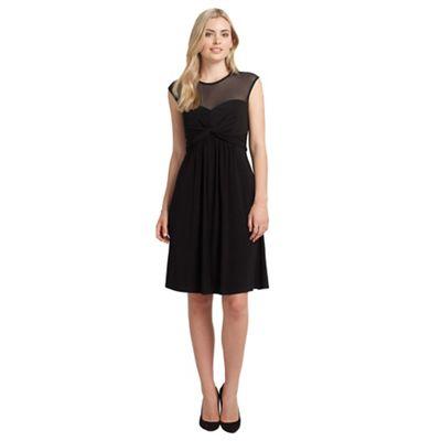 Ariella London Black charlie short dress with mesh neckline - . -