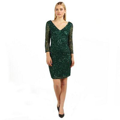 Ariella London Emerald rosanna long sleeve beaded short dress - . -