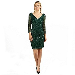 Ariella London - Emerald rosanna long sleeve beaded short dress