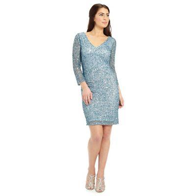 Ariella London Silver blue rosanna long sleeve beaded short dress - . -