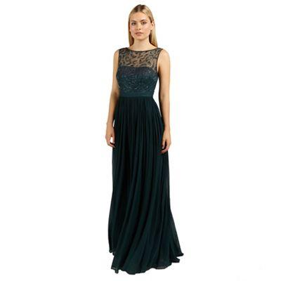 Ariella London Emerald cynthia beaded neckline long dress - . -