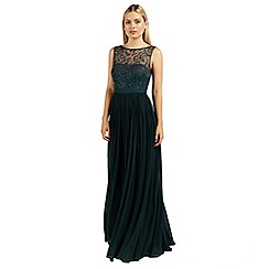 Ariella London - Emerald cynthia beaded neckline long dress