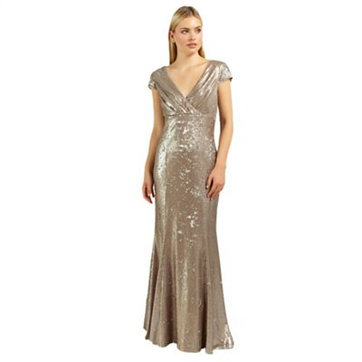 Ariella London Gold venetia sequin long dress - . -