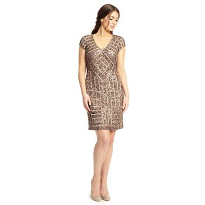 Ariella London Dusky pink gold emily sequin short cocktail dress - . -