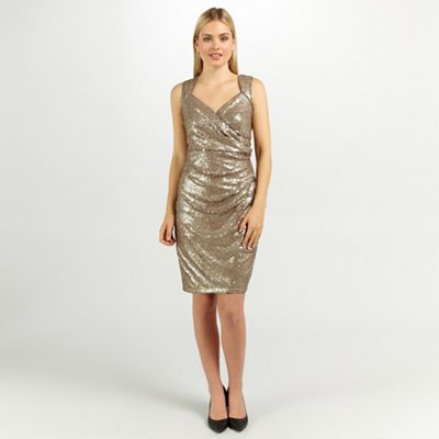 Ariella London Black beige florence sequin pencil dress - . -