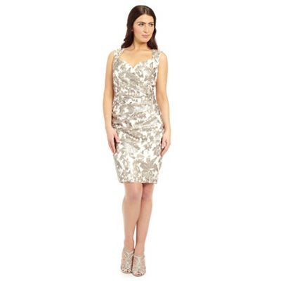 Ariella London Gold elsa wrap lace shift dress - . -
