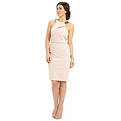 Ariella London - Dusky pink shyla gold necklace short dress