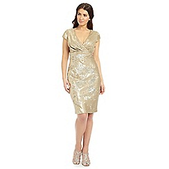 Ariella London - Gold thalia v-neck shift short dress