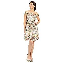 Ariella London - Multi cece printed lace fit flare short dress