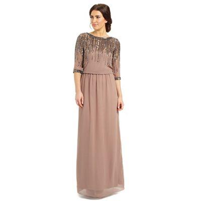 Ariella London Dusky pink mary embellished neck dress - . -